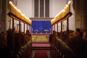 Candle lit church