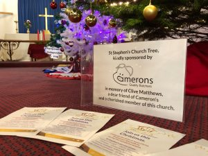 Christmas Tree sponsored by Camerons sign